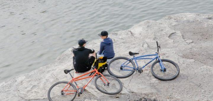 two bikers talking